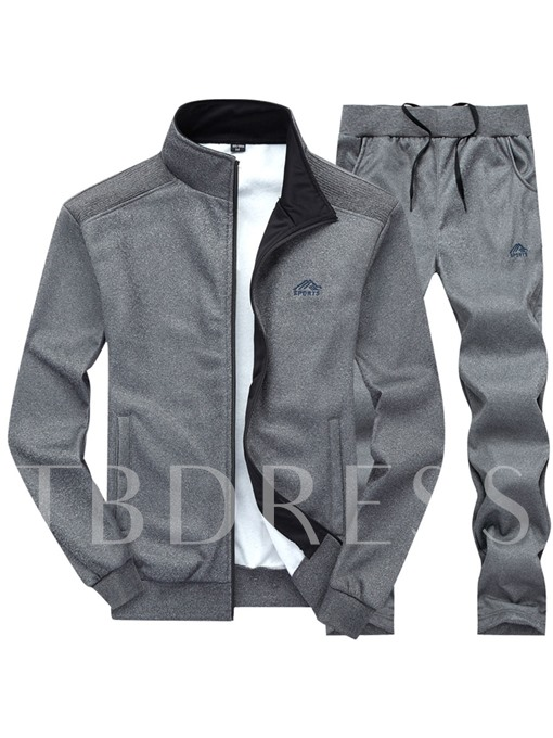 Stand Collar Solid Color Thin Slim Men's Sports Suit