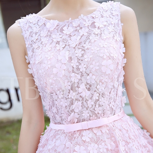 Beaded Bowknot Rhinestone Flowers Lace Homecoming Dress