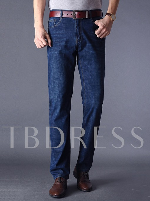 Mid Waist Straight Thin Men's Casual Jeans