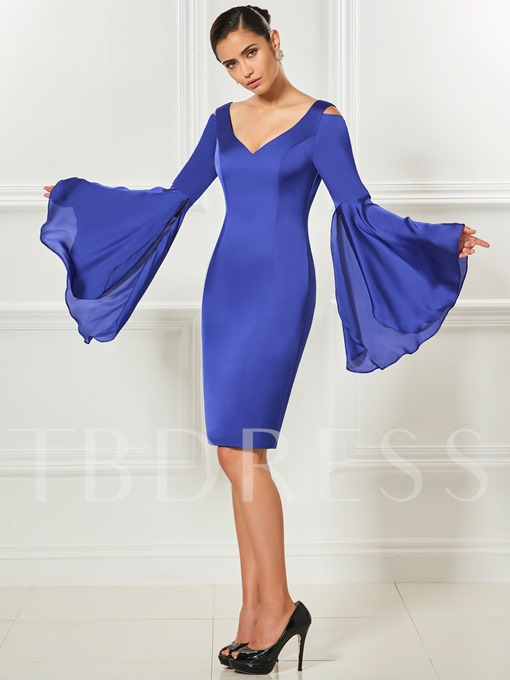 Long Sleeves Column V-Neck Backless Knee-Length Cocktail Dress