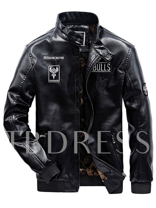 Stand Collar Printed Motor Style Men's PU Jacket