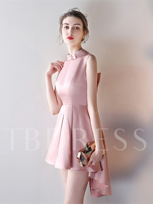 High Neck A-Line Backless Bowknot Asymmetry Homecoming Dress