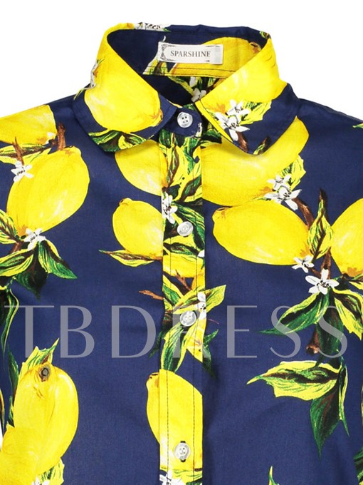Lemon Print Single-Breasted Women's Shirt