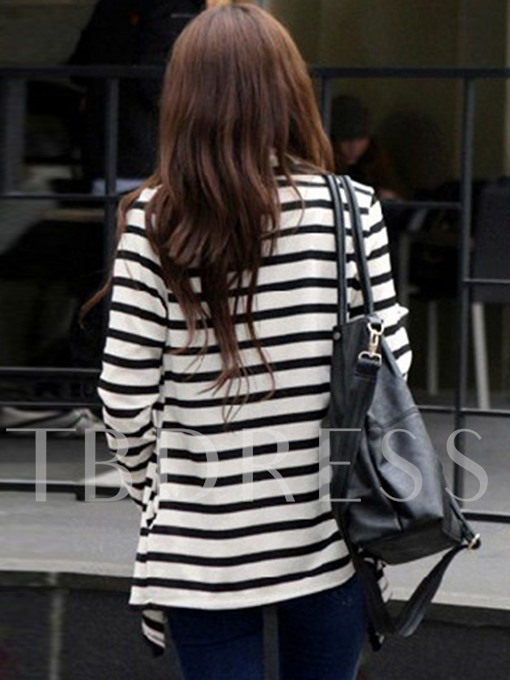 Stripe Long Sleeve Asymmetric Women's Cape