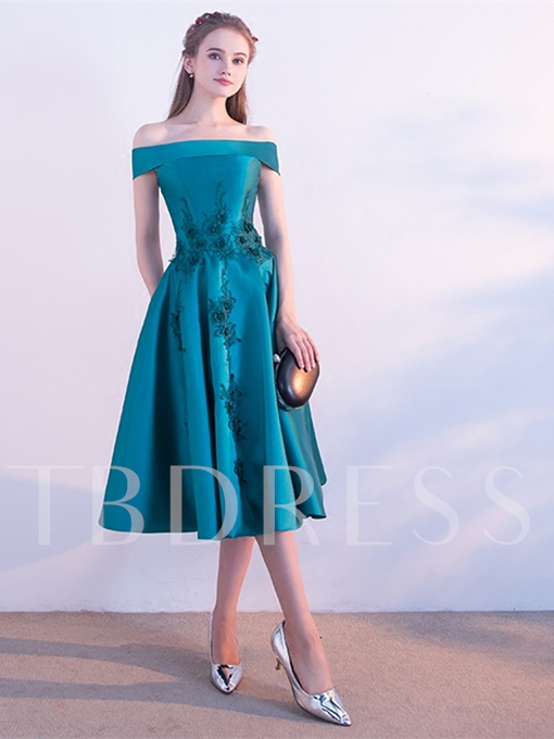 Off-the-Shoulder Embroidery Homecoming Dress