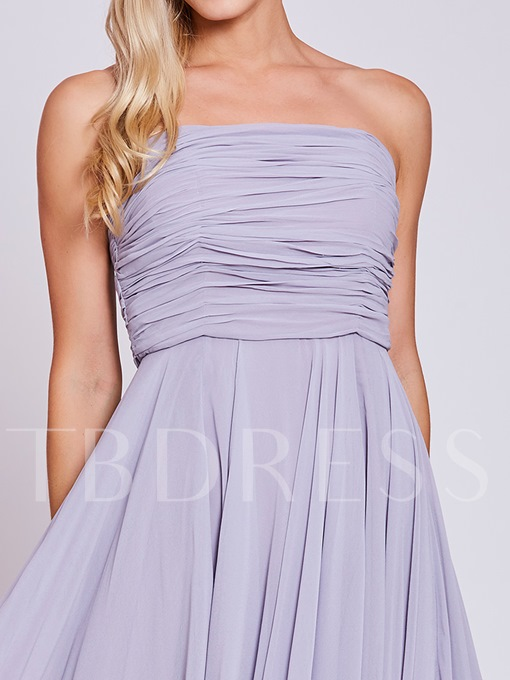 Strapless Pleats A Line Evening Dress