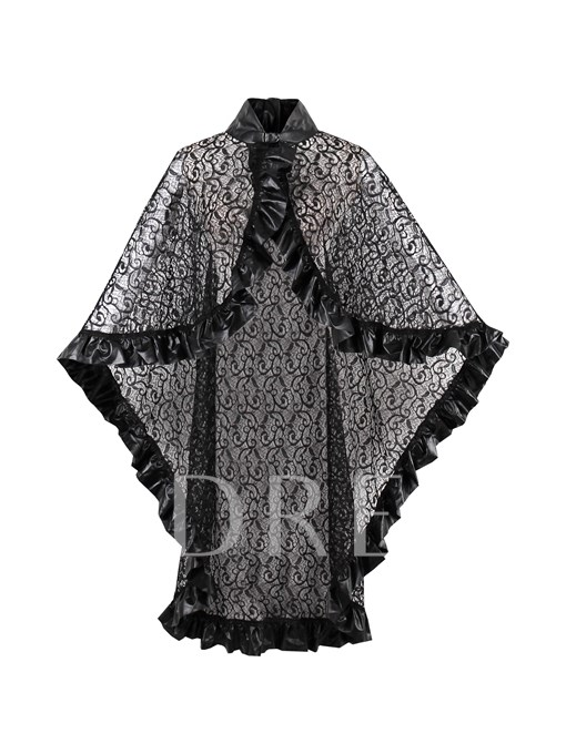 Falbala Loose Stand Collar Women's Cape