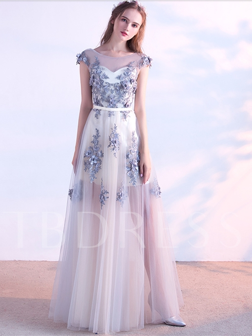Appliques Beaded A-Line Flowers Cap Sleeves Scoop Evening Dress
