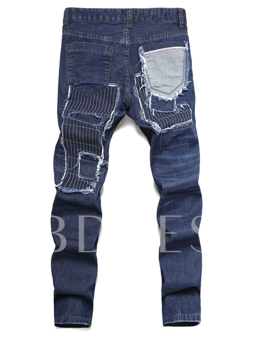 Mid Waist Hole and Worn Vogue Men's Straight Jeans