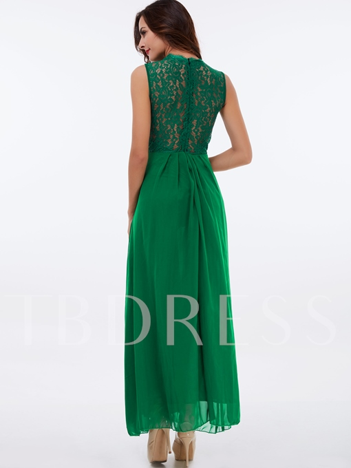 V-Neck Hollow Mesh See-Through Lace Women's Maxi Dress