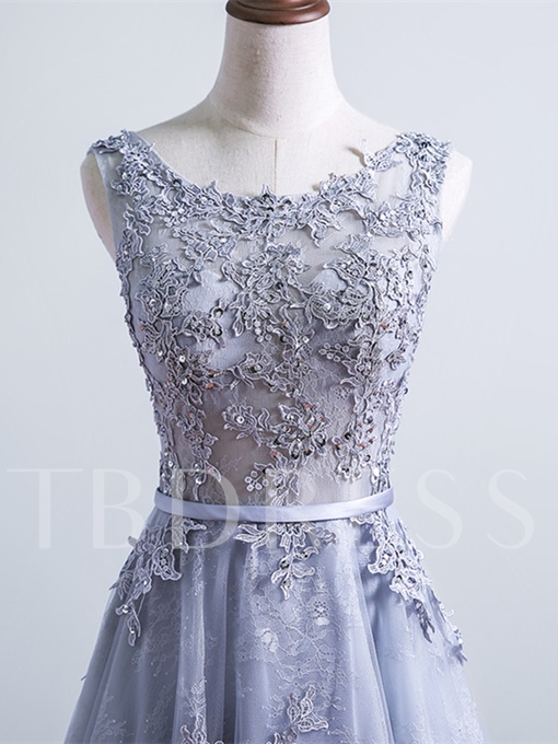 A-Line Appliques Lace Sashes Scoop Court Train Evening Dress