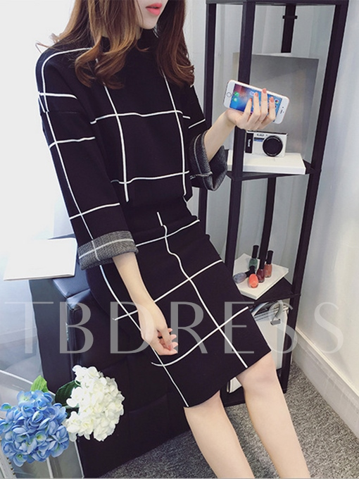 Plaid Print Long Sleeve Top and Skirt Women's Two Piece Dress
