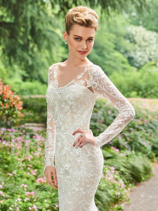 Backless Long Sleeves Lace Wedding Dress