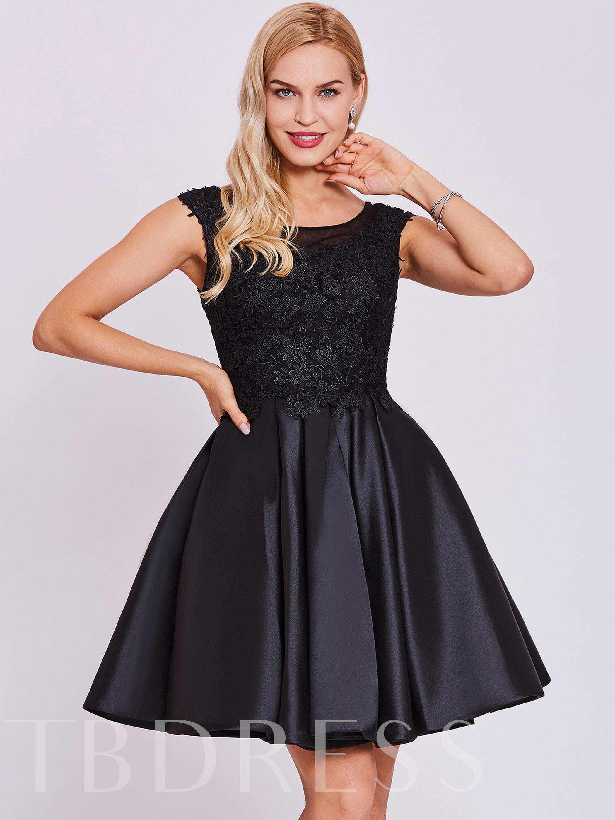 Buy Scoop Neck Lace Appliques A Line Cap Sleeves Homecoming Dress, Tanpell, Spring,Summer,Fall, 12907159 for $56.22 in TBDress store