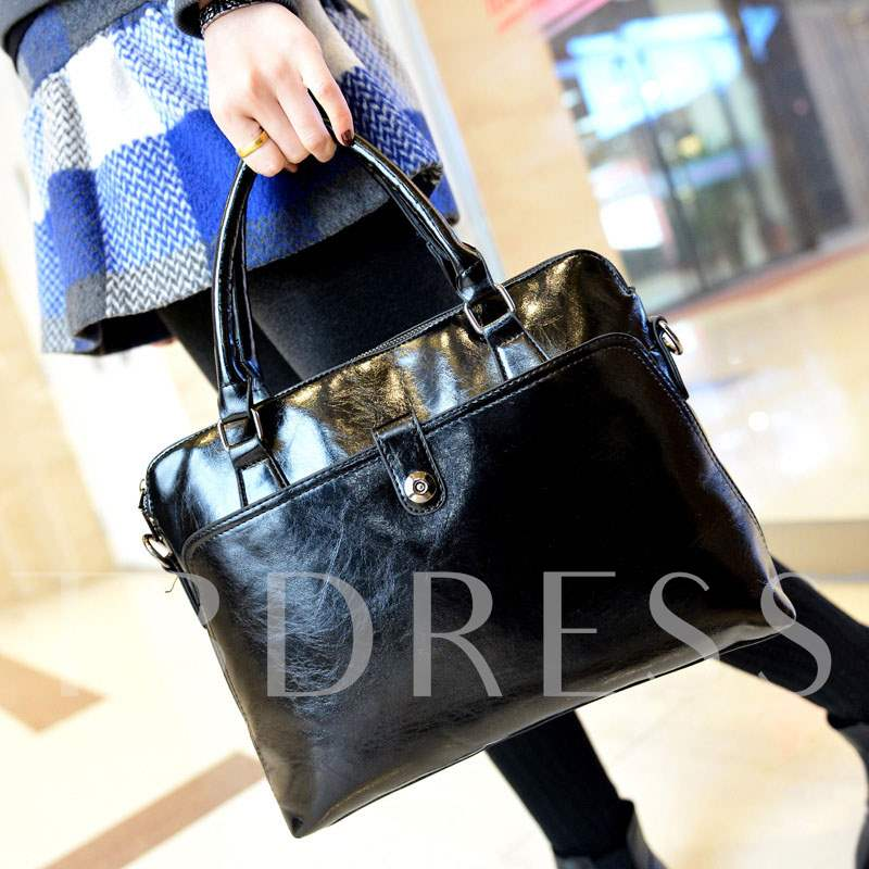 Occident Style Solid Color Zipper Tote