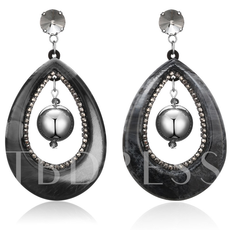 Water Drop Hollow Out Vintage Acrylic Earrings