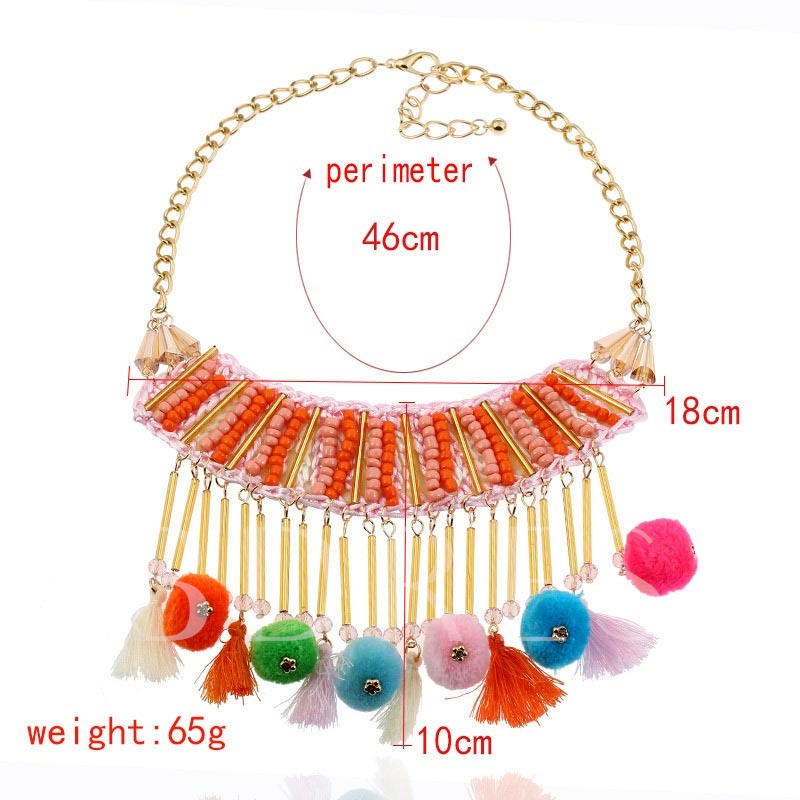 Beads Fuzzy Ball Alloy Tassel Colorful Necklace