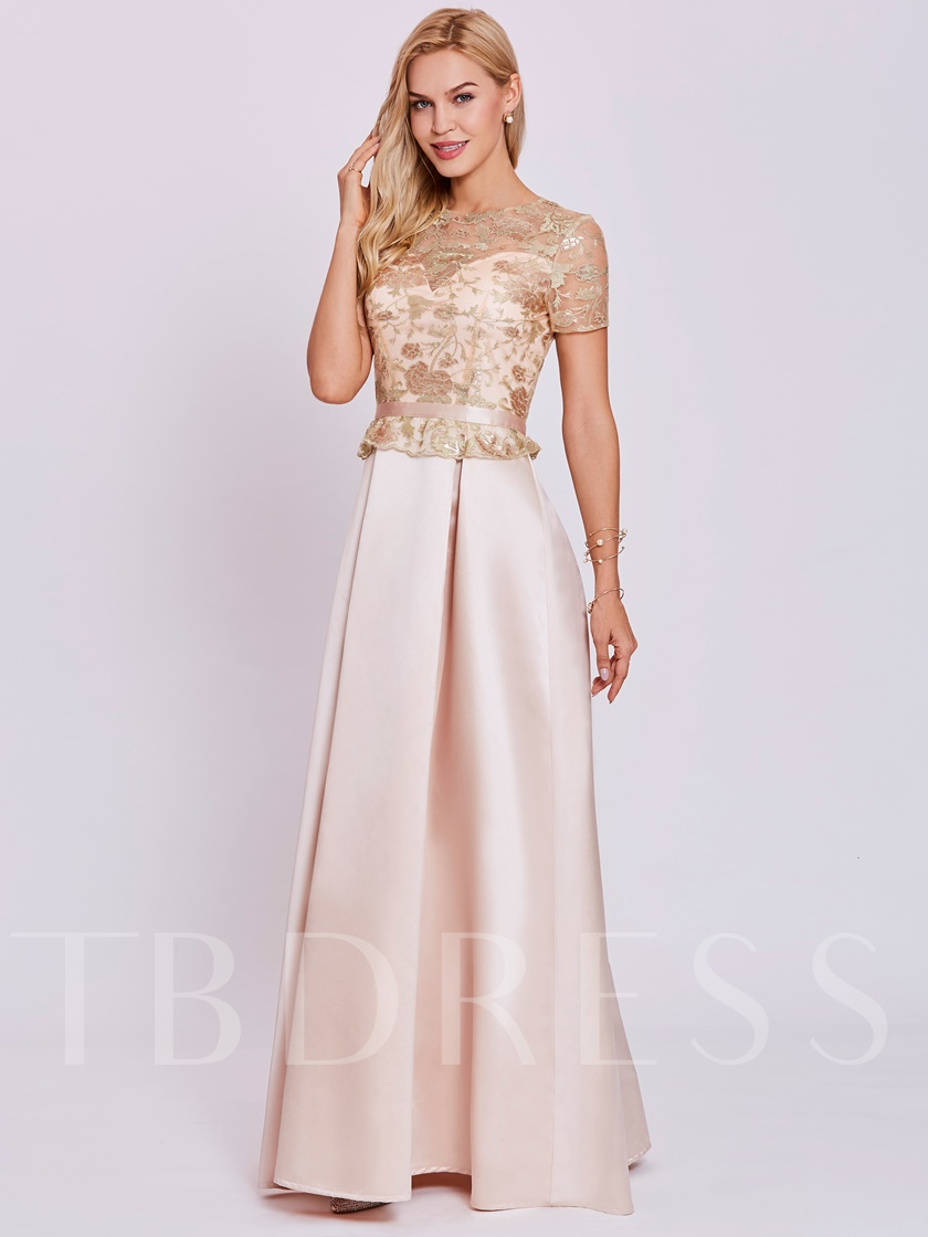 Sequins Lace Short Sleeves Evening Dress