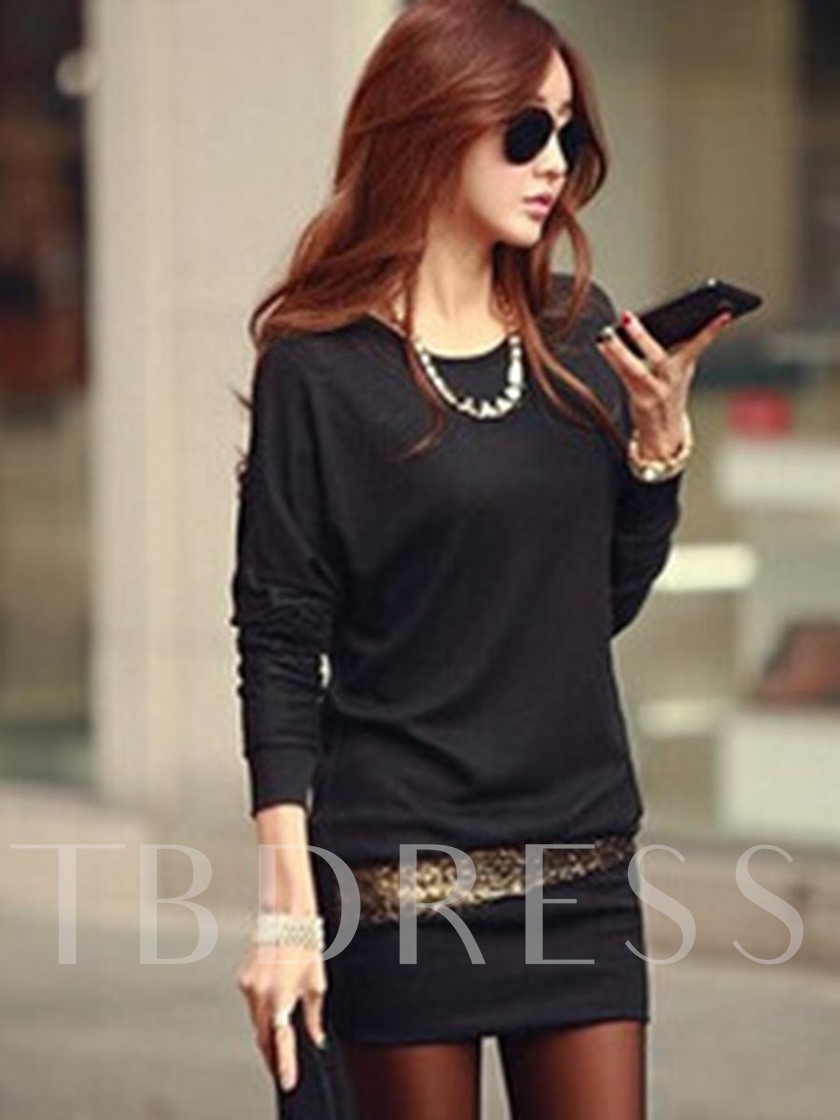 Round Neck Long Sleeve Pullover Women's Long Sleeve Dress