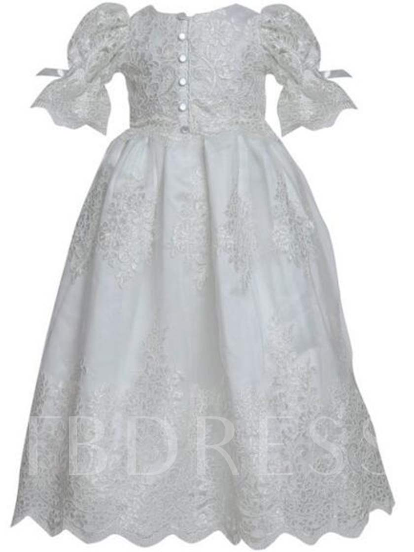 Scoop Short Sleeves Ball Gown Christening Dress