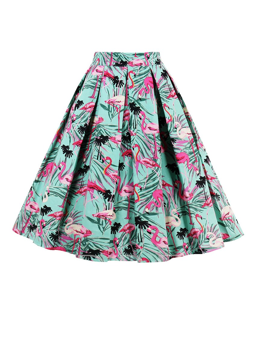 Cartoon Floral Print Knee Length A Line Women S Skirt