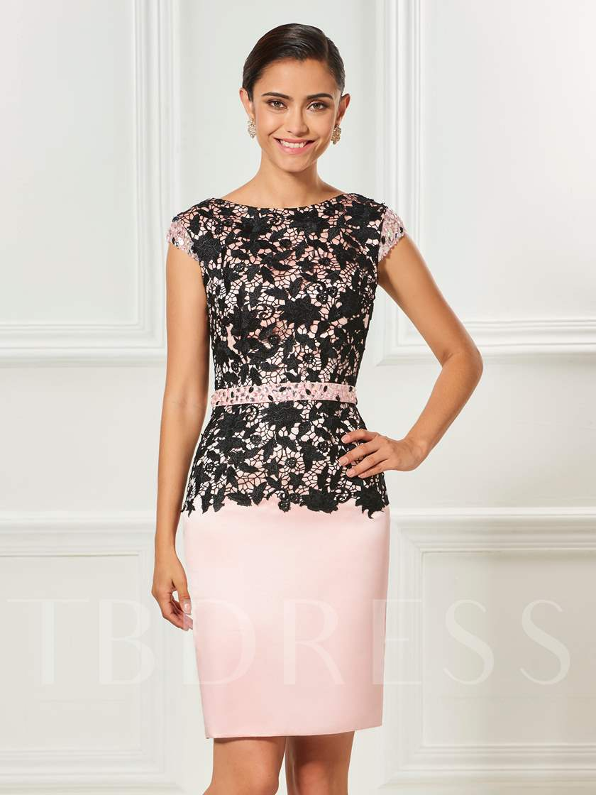 Cap Sleeves Beading Sheath Lace Cocktail Dress
