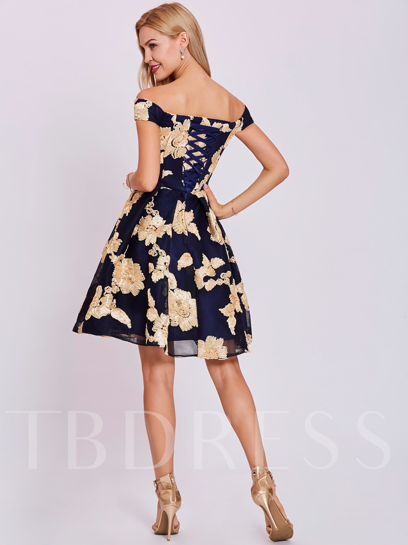 Off-the-Shoulder A-Line Flowers Lace Short Sleeves Homecoming Dress
