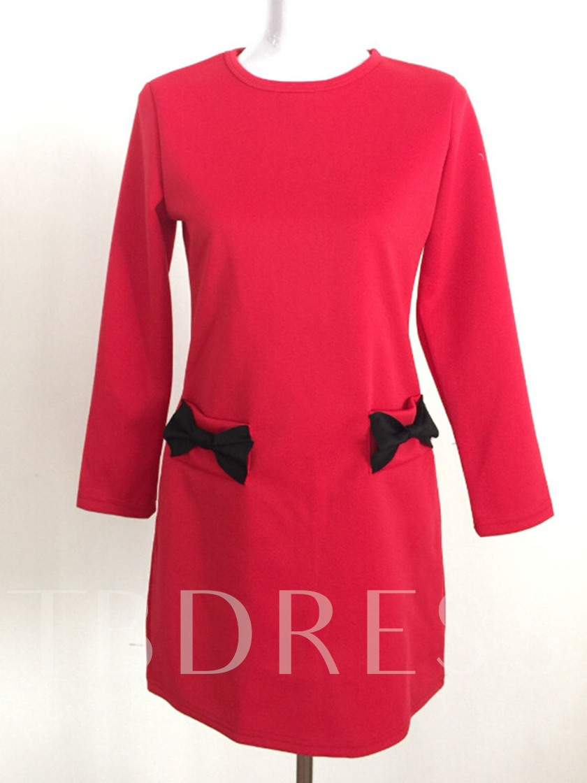 Bowknot Round Neck Pocket Summer Women's Long Sleeve Dress