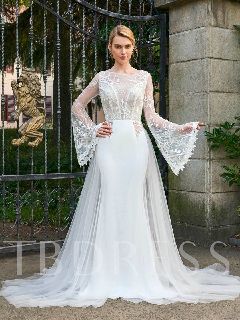 Beaded Lace Backless Wedding Dress with Long Sleeves - Tbdress.com