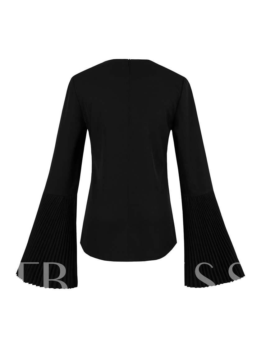 Plain Flare Sleeve Straight Women's Black Tee Shirt