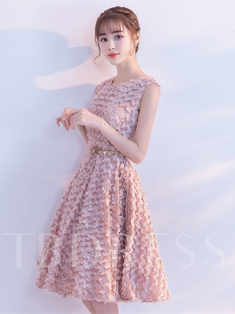 Scoop A-Line Lace Sashes Finished Fabric Knee-Length Homecoming Dress