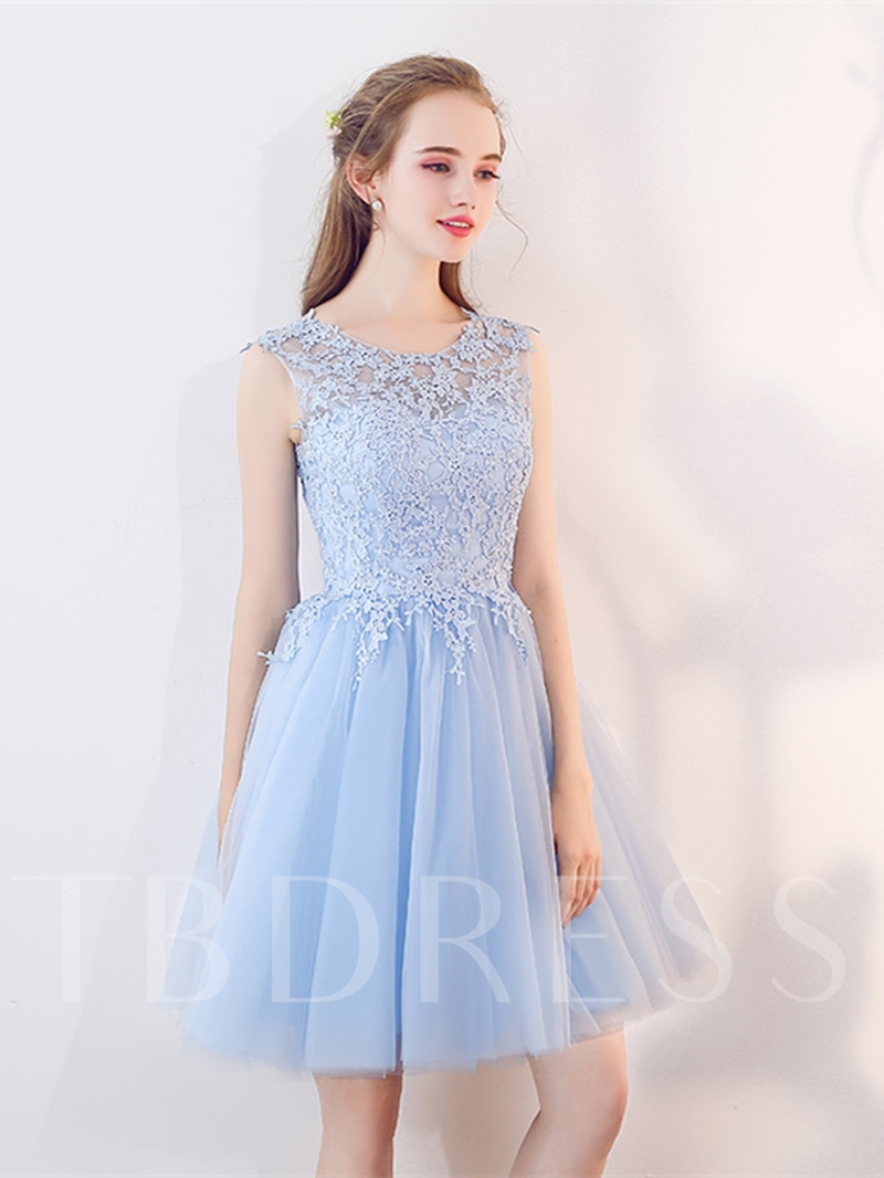 A-Line Scoop Appliques Beaded Rhinestone Mini Homecoming Dress