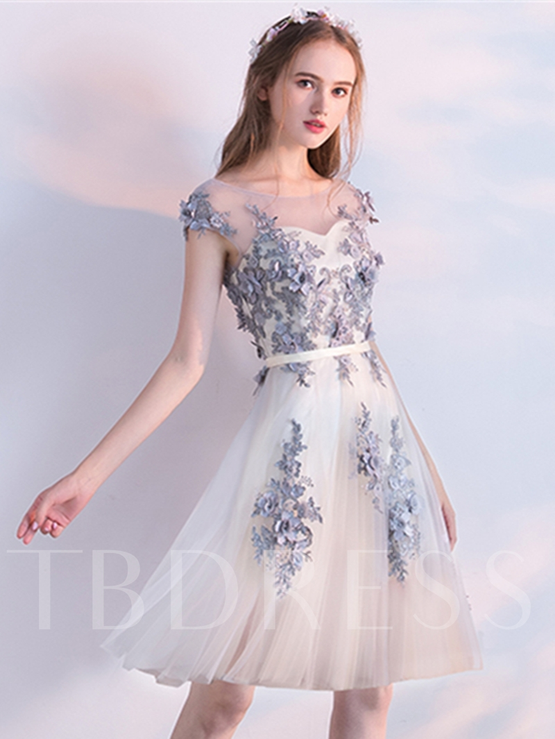 3ed409acf60 Sold Out. A-Line Scoop Appliques Beading Flowers Cap Sleeves Knee-Length  Homecoming Dress