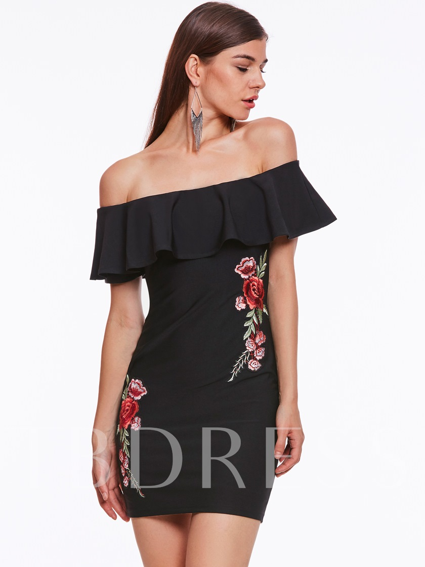 Embroidery Off Shoulder Women's Party Dress