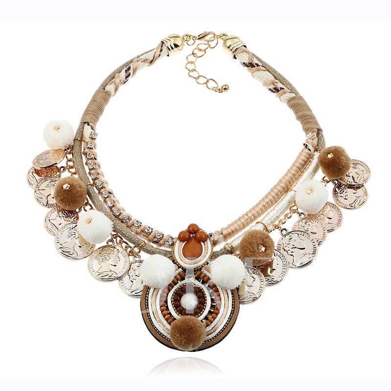 Diamante Alloy Fuzzy Ball Hollow Out Beads Necklace