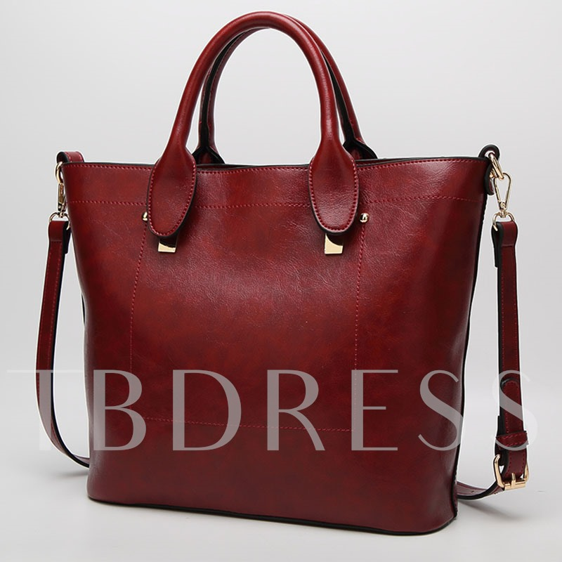 Modern Style Solid Color Zipper Tote