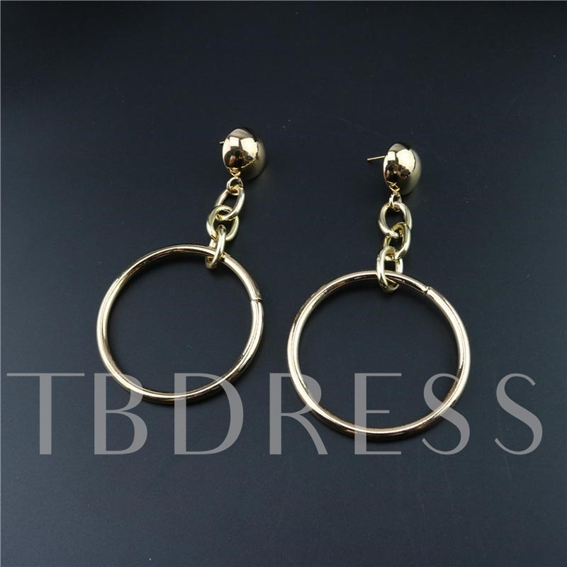 Diamante Alloy Hollow Out Big Round Hoop Earrings
