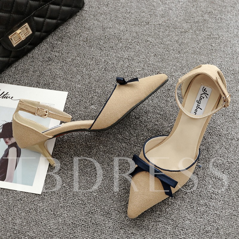 Bow Thread Pointed Toe Plain Buckle Suede Women's Casual Shoes