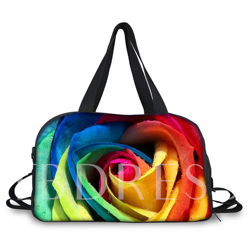 3D Floral Printing Canvas Gym Bag