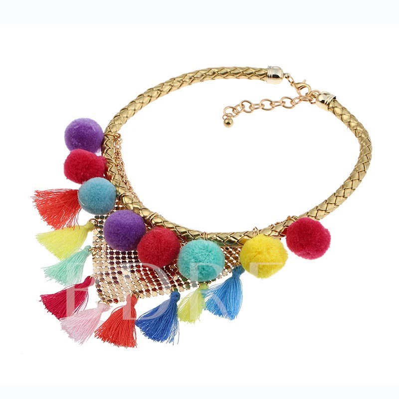 Alloy Fuzzy Ball Tassel Hollow Out Vintage Bohemian Vintage Necklace
