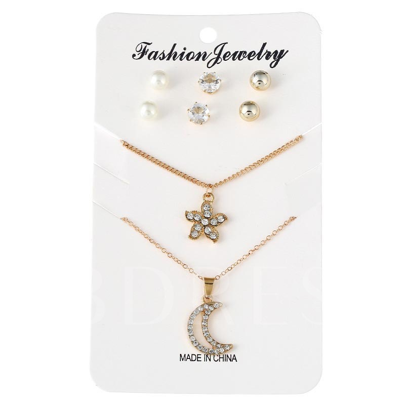 Alloy Pearl Moon Flower Diamante Jewelry Sets