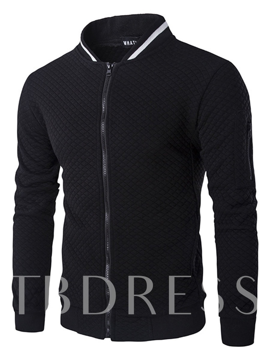 Buy Stand Collar Zipper Plaid Slim Fit Men's Casual Jacket, Fall,Winter, 12950415 for $22.99 in TBDress store