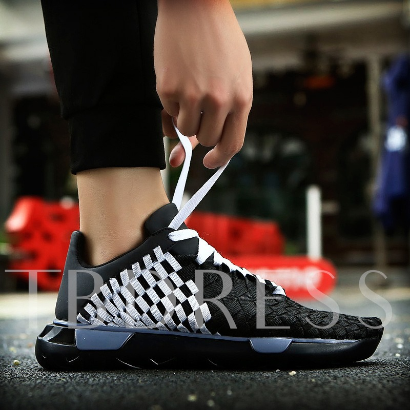 Cloth Lace-Up Thread Woven Color Block Men's Athletic