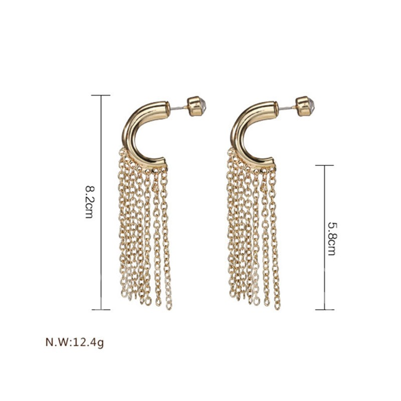 Simple Alloy Rhinestone Tassel Earrings