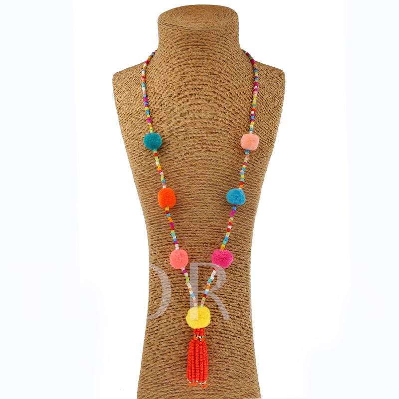 Bohemian Tassel Fuzzy Ball Beads Vintage Ethnic Necklace