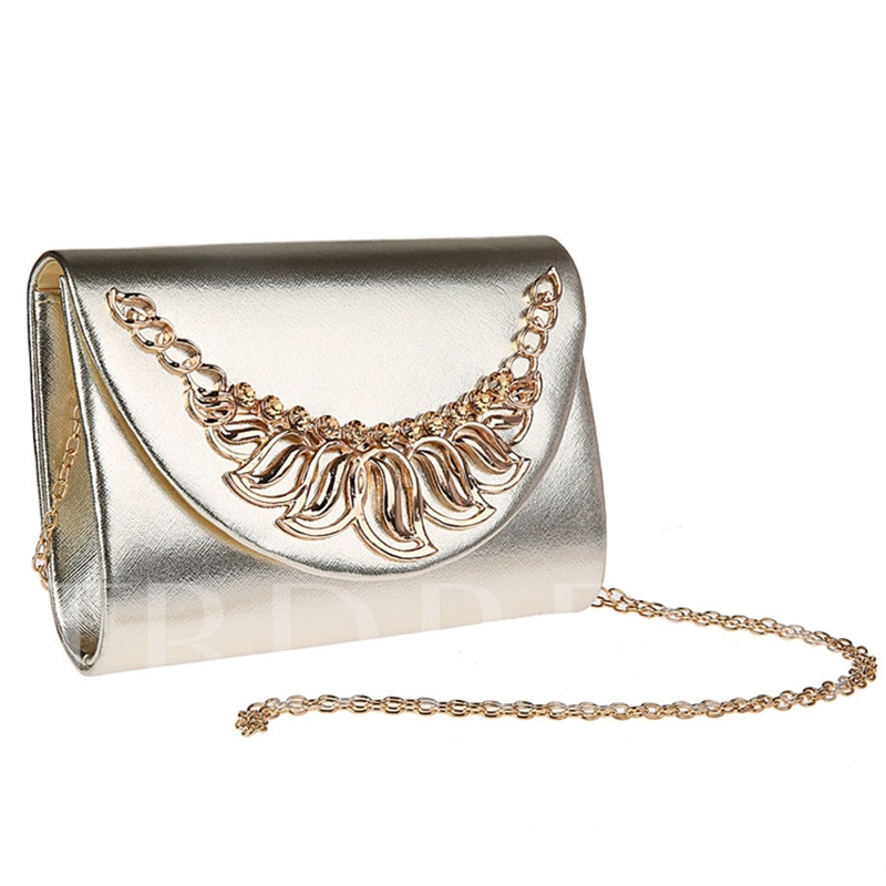 Concise Solid Color PU Evening Clutch