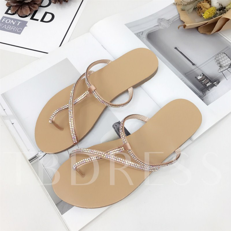 Thong Slip-On Rhinestone Thread Block Heel Women's Flat Sandals