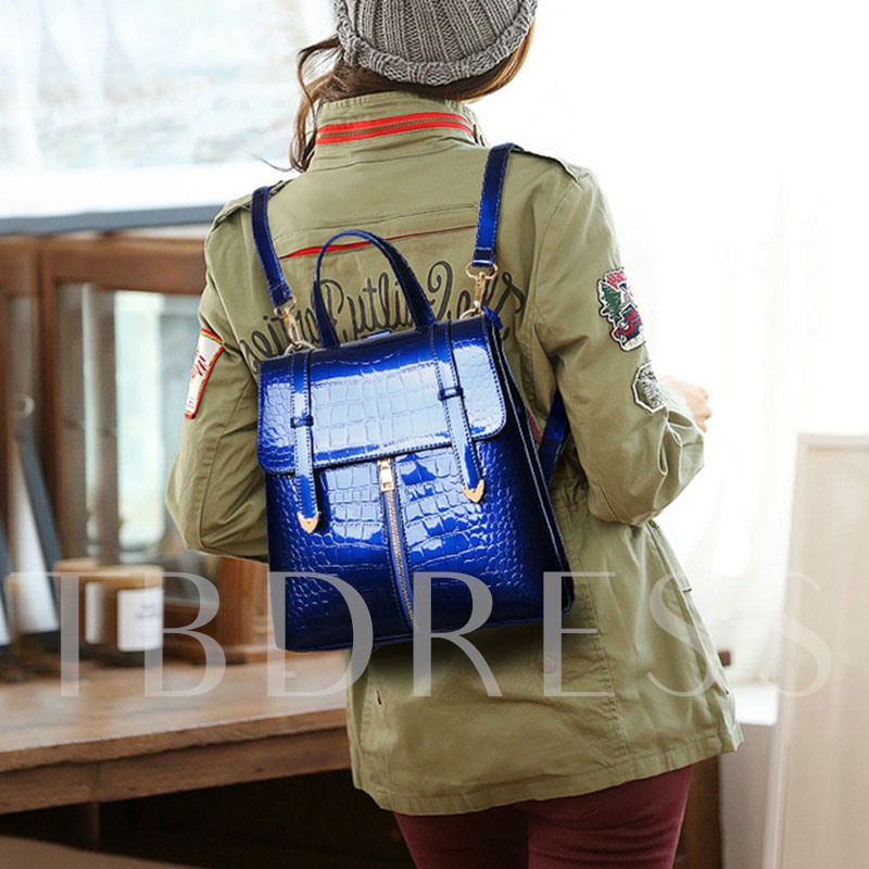 Glossy Croco-Embossed Women Backpack