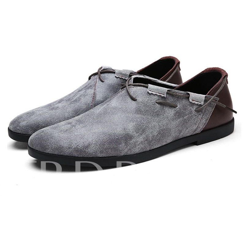 Round Toe Strappy Slip-On Suede Thread Plain Men's Business Shoe