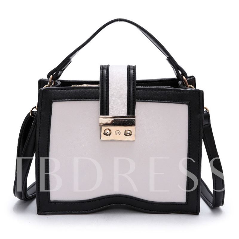 Concise Color Block Women PU Tote
